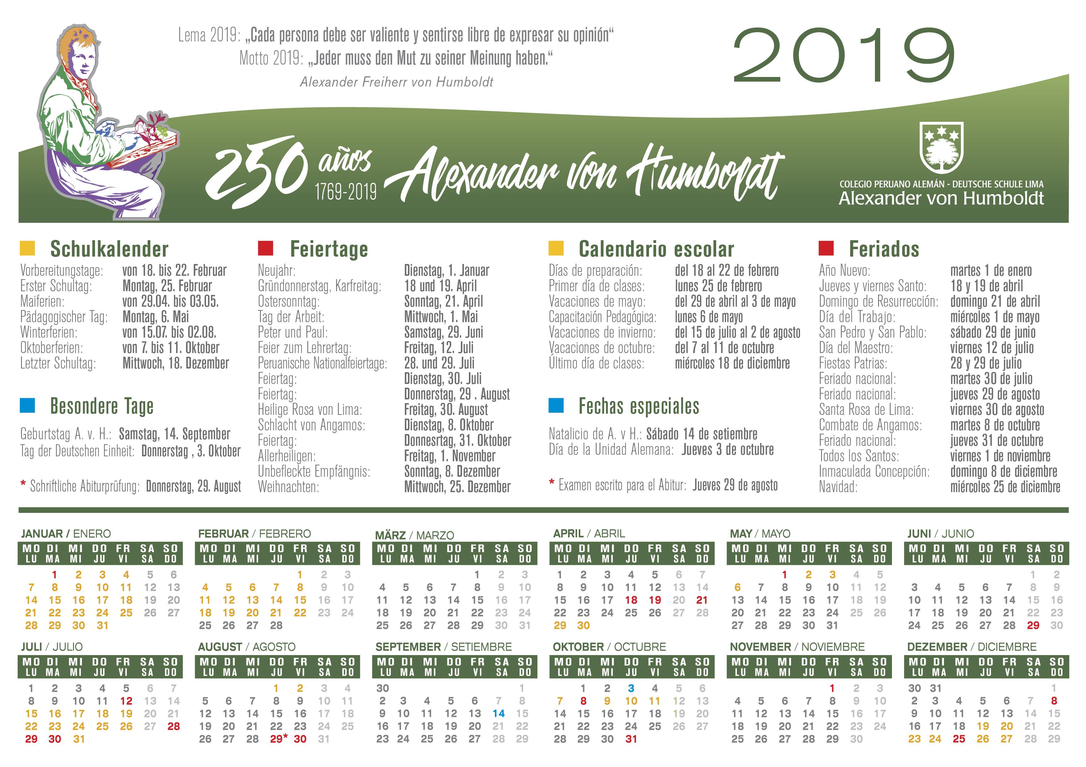 Calendario Julio Del 2000.Calendario Escolar Diversos Colegio Peruano Aleman